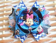 "NEW Girls Blue Pink Custom ""MINNIE MOUSE CHEVRON"" bOuTiQuE Hair Bow Clip LOADED!"