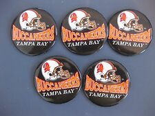 """TAMPA BAY BUCCANEERS LOT OF 5 BUTTON PINS VINTAGE OLD LOGO 2 1/2"""" NEW NFL"""