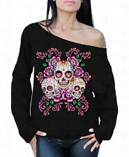 Sugar Skulls Flowers Off The Shoulder Oversized Slouchy Sweater Sweatshirt
