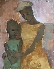 """""""Mother and Daughter"""" by Carlo Jean-Jacques - Naive Haitian Art - 24 in x 30 in"""