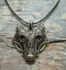 Antique Silver Plt Ornate Wolf Face Pendant Necklace, Ladies Mens Viking Norse 2