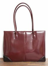 LRG EDDIE BAUER SMOOTH BROWN GENUINE LEATHER BUSINESS TOTE HANDBAG SHOULDER BAG