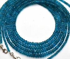 """Natural Gem Neon Blue Apatite 3-6MM Rondelle Beads 18"""" Finished Necklace 70Cts."""