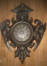 "Antique BIG 20"" CAST IRON Hanging Wind Up Wall Clock Hunting Lodge Motiff HEAVY"