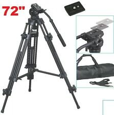 "Pro Heavy Duty EI-717 72"" Tripod with Fluid Pan Head plate & case for Video"