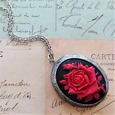 vIcToRiAn ViNtAgE HUGE BLACK RED ROSE CAMEO ANTIQUE SILVER LOCKET NECKLACE
