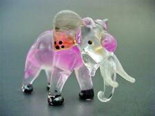 Glass ELEPHANT, Tinted Pink Glass Animal, Blown Glass Figure Glass Ornament Gift