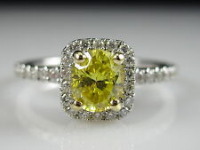 18K 750 Fancy Yellow Oval Diamond Halo Engagement Ring White Gold $5000
