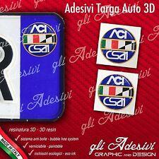 2 Adesivi Stickers bollino 3D Resinato targa Auto Moto ACI CSAI