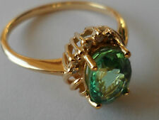 BEAUTIFUL 18K PARAIBA TOURMALINE DIAMOND YELLOW GOLD RING 1.22CT COPPER BEARING.