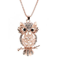 Rhinestone Plated Opal Crystal Feather Owl Pendant Necklace Long Sweater Chain