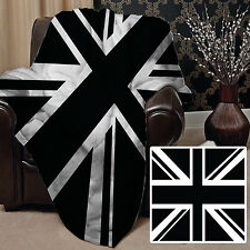 BLACK & WHITE UNION JACK DESIGN SOFT FLEECE THROW BLANKET GREAT GIFT IDEA