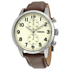 Fossil Townsman Chronograph Egg Dial Brown Leather Mens Watch FS4872