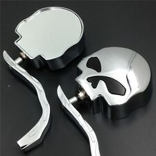 XH Harley Dyna Softail Sportster Bobber Chopper Skull Flame Chrome Side Mirrors