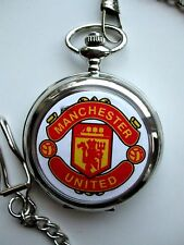 Manchester United Pocket Watch New With Chain BOXED New