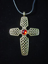 """""""JJ"""" Jonette Jewelry Antique Gold Pewter WOVEN Red Stone CROSS 18"""" Necklace"""