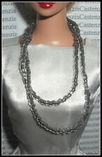 JEWELRY BARBIE VTG REPRODUCTION COMMUTER SET DOLL #916 SILVERY BEADED NECKLACE