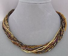 12 Strand Brown Gold Czech Glass Bead Necklace Magnetic Fashion Jewelry NEW