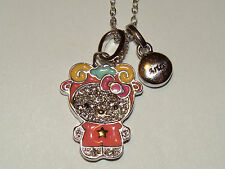"HELLO KITTY ZODIAC ""ARIES"" Sterling Silver Pave Crystal Enamel Pendant Necklace"