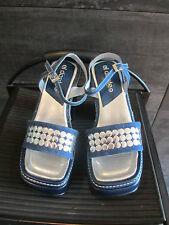 El Dantes  blue denim platform sandals size 38 made in Spain