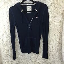 Woman's Hollister T Shirt Blouse Top Sz L Large Hoodie Long Sleeve Snap Blue 736