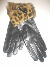 Ladies Leopard Fur Cuffed Genuine Leather Black Gloves,L