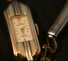 Ladies', rare, vintage art deco Swiss 17 jewel 10K Wakmann gold dress wristwatch