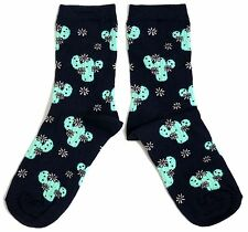 LADIES MIDNIGHT BLUE PRICKLY CACTUS SOCKS UK SIZE 4-8 EUR 37-42 USA 6-10
