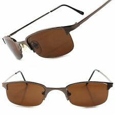 Semi Rimless Stylish Brown Mens Small Vintage Inspired Indie Aviator Sunglasses
