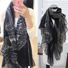 Vintage Women Long Soft Cotton Voile Print Scarves Shawl Wrap Scarf Fawn LE