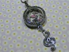 30mm Locket*Necklace*Music NoTe Floating Charms*Pink Origami Stone*Guitar*Piano