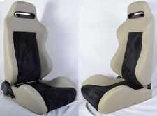 NEW 2 GRAY & BLACK RACING SEATS RECLINABLE W/ SLIDER FIT FOR SUBARU