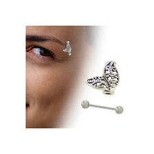 Sterling Silver Unique Design Eyebrow Shield with Barbell (8mm) - EBH-09