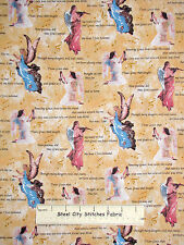 Amazing Grace Religious Angel Fabric ~ 100% Cotton By Yard ~ Lyric Hymn Words