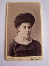 Vintage CDV Woman wearing Feather Hat High Lace Collar Witcombe Warminster