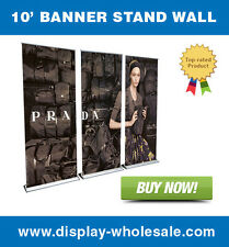 10' HD Retractable Roll Up Banner Stand Wall + free vinyl print
