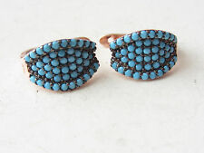 UNIQUE TURKISH ROSE GOLD PLATED TURQUOISE 925K STERLING SILVER EARRINGS