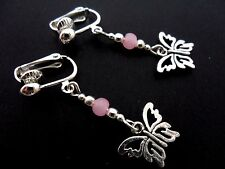 A PAIR TIBETAN SILVER DANGLY BUTTERFLY PINK JADE BEAD  CLIP ON EARRINGS. NEW.