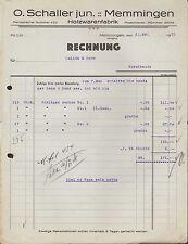 MEMMINGEN (ALLGÄU), Rechnung 1931, Holzwaren-Fabrik O. Schaller jun.