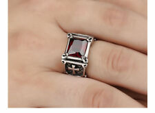 Men's Vintage Punk Red Ruby Black Crystal Stainless Steel Cross Silver Ring Band