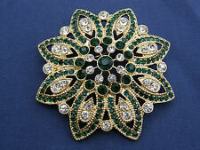 LOVELY SIGNED MONET GREEN & CLEAR RHINESTONE ROUND FLORAL FLOWER PETAL BROOCH