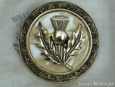 LOVELY WESTERN GERMANY 60/70'S FAUX MOP/CELLULOID THISTLE FLOWER SCARF RING CLIP