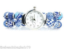 NEW JILZARA Premium Handmade Clay 8mm Beads NAVY BLUE WHITE KEEPSAKE Watch