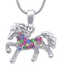 Colorful Horse Mustang Pony Stallion Charm Pendant Necklace Girl Jewelry n2009mt