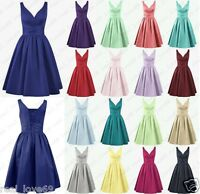 Stock New Satin Formal Short Prom Party Cocktail Gown Evening Bridesmaid Dresses