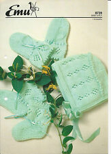 KNITTING PATTERN BABY BONNET BOOTEES & MITTS age 1-6 months