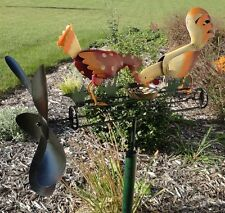 Pecking Chicken and Rooster Whirligig Wind Spinner Yard Stake