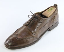 *ALEXANDER McQUEEN* Oak Brown Tumbled Leather Wingtip Oxford Dress Shoes US 9
