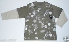 BNWT Boys Red Herring Logo Skull Long Sleeve Khaki Green T-Shirt Top Age 3-4