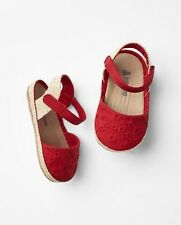 GAP Baby / Toddler Girls Size 18-24 Months Red Eyelet Espadrilles Sandals Shoes